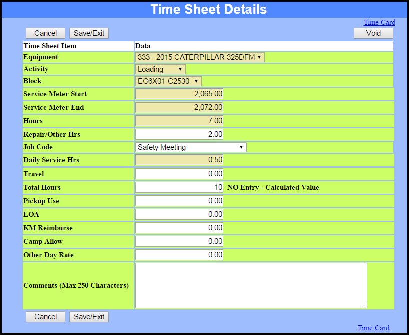 Configurable Electronic Time Sheets Detail